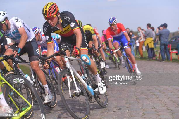 Oliver Naesen of Belgium and Team AG2R La Mondiale / during the 116th Paris - Roubaix 2018 a 257km race from Compiegne to Roubaix on April 8, 2018 in...