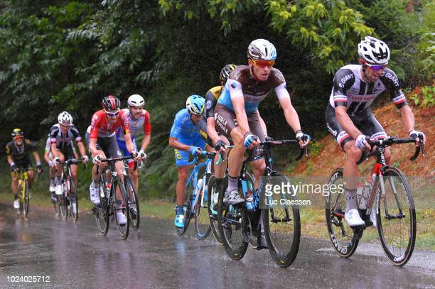Oliver Naesen of Belgium and Team AG2R La Mondiale / Michael Matthews of Australia and Team Sunweb / Tim Wellens of Belgium and Team Lotto Soudal /...