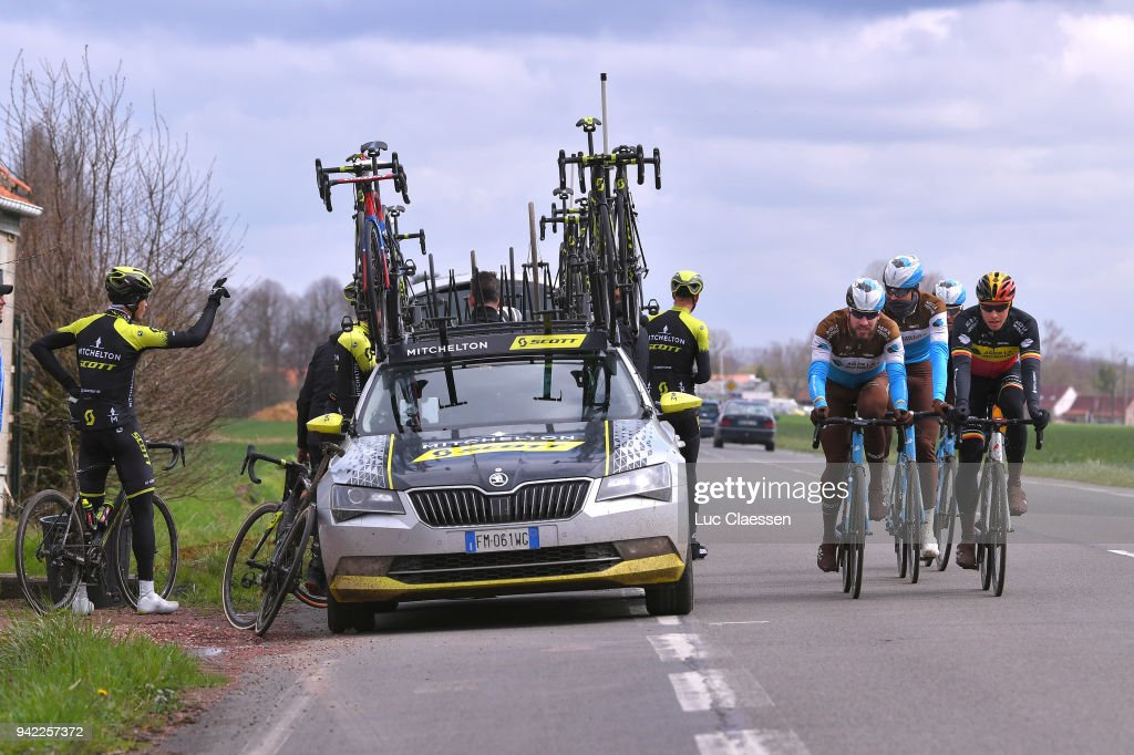 Oliver Naesen of Belgium, Gediminas Bagdonas of Lithuania and Team AG2R La Mondiale during training of 116th Paris to Roubaix 2018 on April 5, 2018 in Arenberg, France.