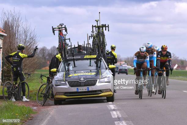 Oliver Naesen of Belgium, Gediminas Bagdonas of Lithuania and Team AG2R La Mondiale during training of 116th Paris to Roubaix 2018 on April 5, 2018...