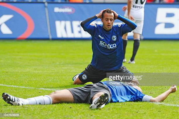 Oliver Neuville and Sebastian Heidinger of Bielefeld look dejected during the Second Bundesliga match between Arminia Bielefeld and FC Ingolstadt at...