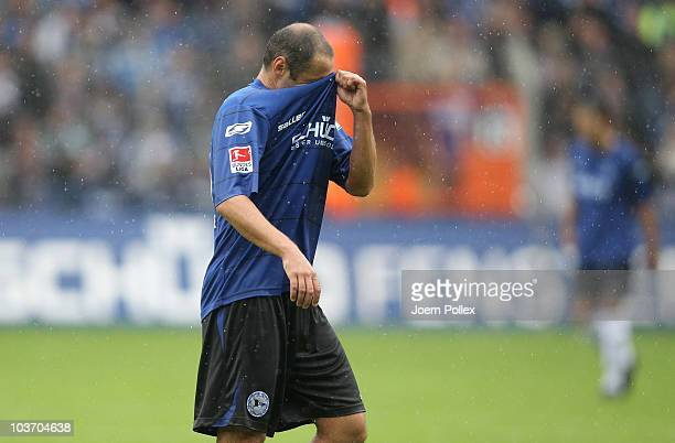 Oliver Neuville of Bielefeld gestures during the Second Bundesliga match between Arminia Bielefeld and Energie Cottbus at Schueco Arena on August 29...