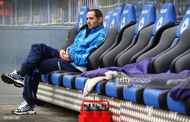 Oliver Neuville of Bielefeld sits on the substitutes bench prior to the Second Bundesliga match between Arminia Bielefeld and VfL Osnabrueck at the...