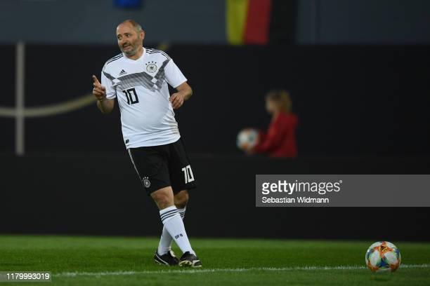 Oliver Neuville of DFBAllStars gestures during the Friendly Match between the DFBAllStars and Azzurri Legends at Sportpark Ronhof Thomas Sommer on...