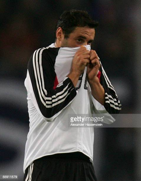 Oliver Neuville of Germany reacts after the friendly game between Germany and China at the AOL Arena on October 12, 2005 in Ham