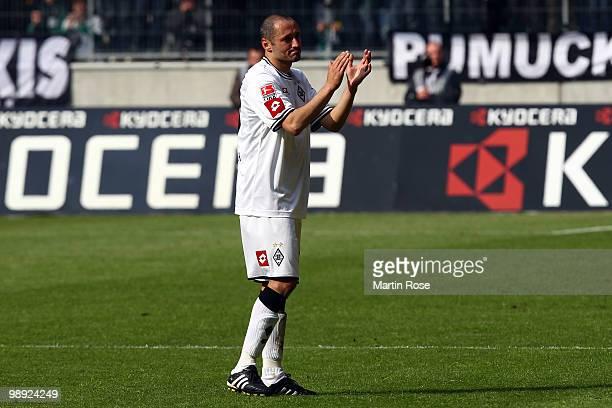 Oliver Neuville of Gladbach looks dejected after the Bundesliga match between Borussia Moenchengladbach and Bayer Leverkusen at Borussia Park Stadium...