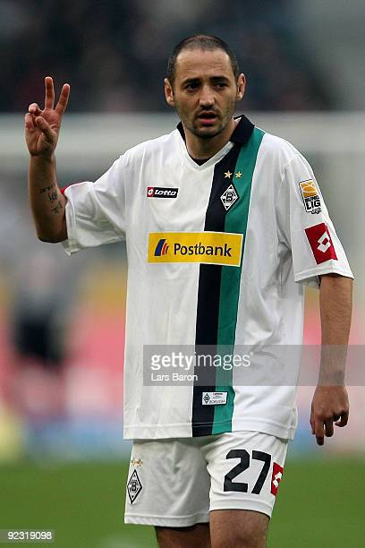 Oliver Neuville of Moenchengladbach gestures during the Bundesliga match between Borussia Moenchengladbach and 1 FC Koeln at Borussia Park Stadium on...