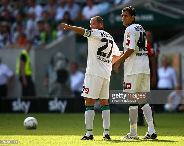 Oliver Neuville of Moenchengladbach issues instructions during the Bundesliga match between Borussia Moenchengladbach and Hertha BSC Berlin at the...