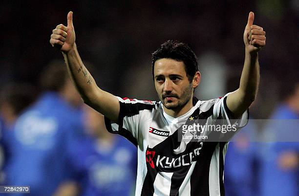 Oliver Neuville of Monchengladbach gestures after loosing during the Bundesliga match between VFL Bochum and Borussia Monchengladbach at the...
