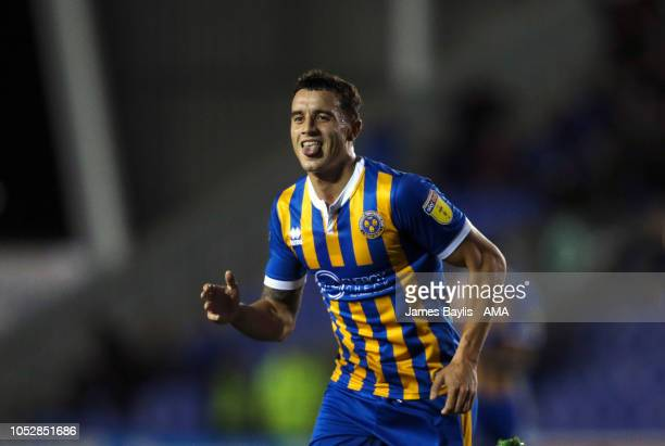 Oliver Norburn of Shrewsbury Town celebrates after scoring a goal to make it 20 during the Sky Bet League One match between Shrewsbury Town and...