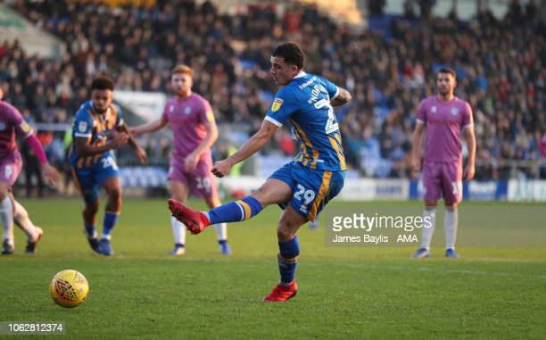 Oliver Norburn of Shrewsbury Town scores a goal to make it 10 from the penalty spot during the Sky Bet League One match between Shrewsbury Town and...