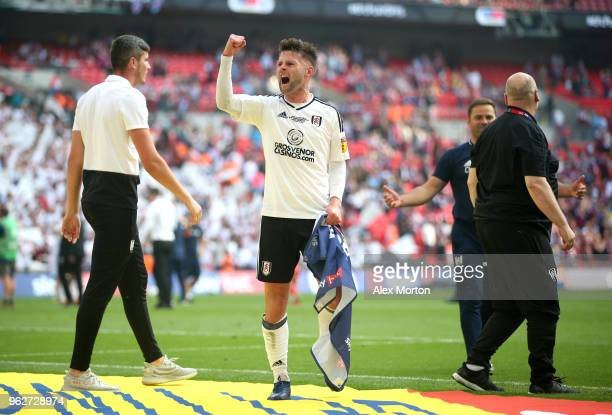 Oliver Norwood of Fulham celebrates his sides victory after the Sky Bet Championship Play Off Final between Aston Villa and Fulham at Wembley Stadium...