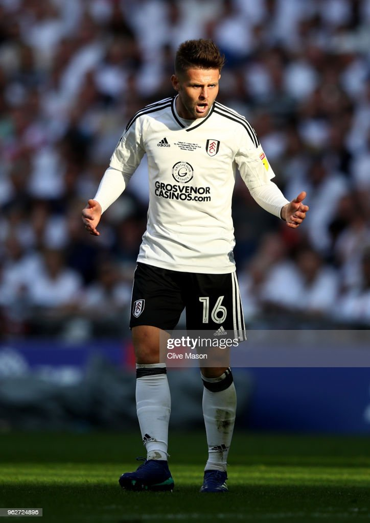 Oliver Norwood of Fulham reacts during the Sky Bet Championship Play Off Final between Aston Villa and Fulham at Wembley Stadium on May 26, 2018 in London, England.