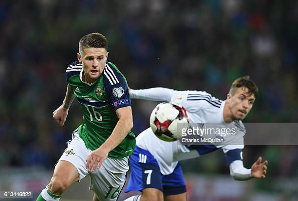 Oliver Norwood of Northern Ireland and Matteo Vitaioli of San Marino during the FIFA 2018 World Cup Qualifier between Northern Ireland and San Marino...