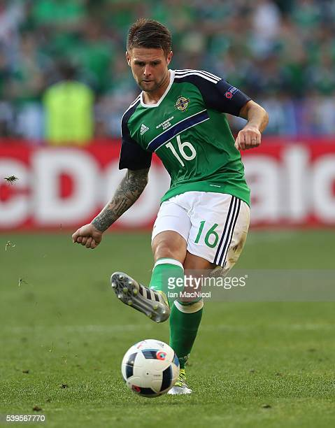 Oliver Norwood of Northern Ireland controls the ball during the UEFA EURO 2016 Group C match between Poland v Northern Ireland at Allianz Riviera...