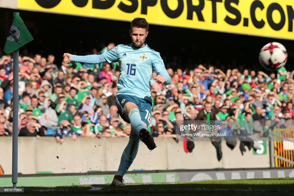 Oliver Norwood of Northern Ireland during an International Friendly fixture between Northern Ireland and Korea Republic at Windsor Park on March 24, 2018 in Belfast, Northern Ireland.