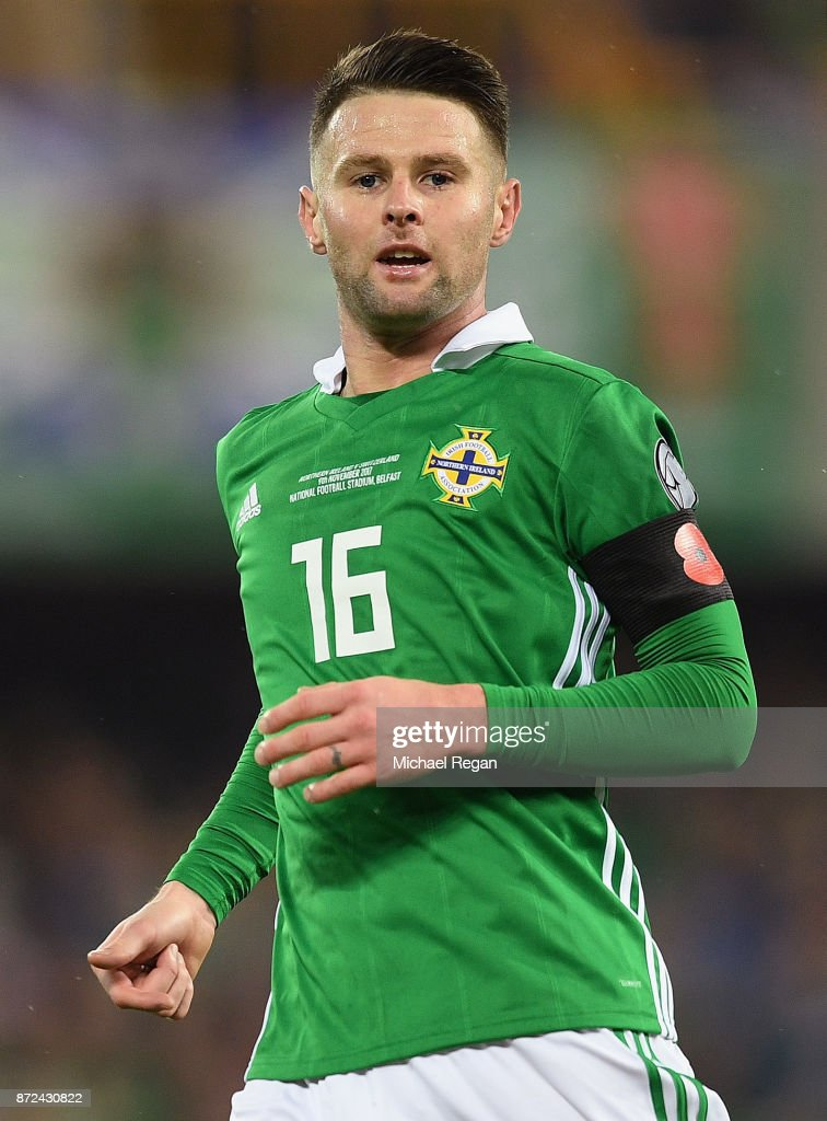 Oliver Norwood of Northern Ireland in action during the FIFA 2018 World Cup Qualifier Play-Off: First Leg between Northern Ireland and Switzerland at Windsor Park on November 9, 2017 in Belfast, Northern Ireland.