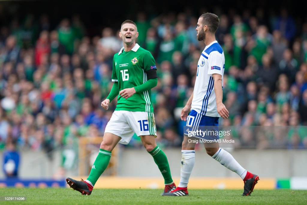 Oliver Norwood of Northern Ireland reacts to a missed chance during the UEFA Nations League B group three match between Northern Ireland and Bosnia-Herzegovina at Windsor Park on September 8, 2018 in Belfast, United Kingdom.