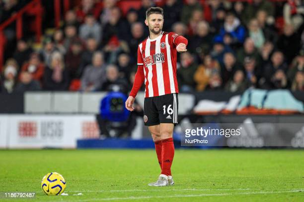 Oliver Norwood of Sheffield United during the Premier League match between Sheffield United and Newcastle United at Bramall Lane, Sheffield on...