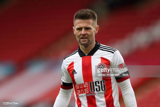 Oliver Norwood of Sheffield United during the Premier League match between Sheffield United and Fulham at Bramall Lane on October 18, 2020 in...