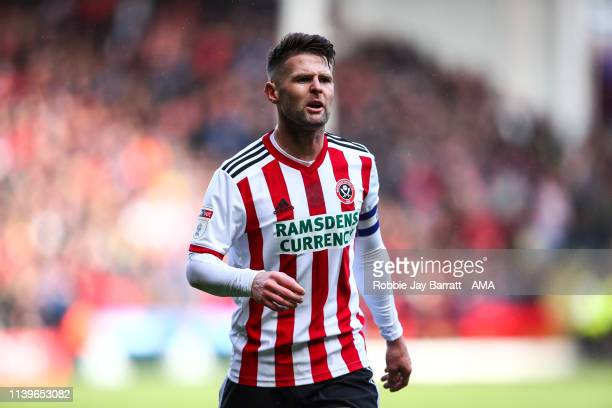Oliver Norwood of Sheffield United during the Sky Bet Championship match between Sheffield United and Ipswich Town at Bramall Lane on April 27, 2019...