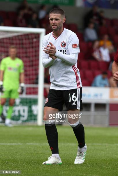 Oliver Norwood of Sheffield United in action during a Pre-Season Friendly match between Northampton Town and Sheffield United at PTS Academy Stadium...