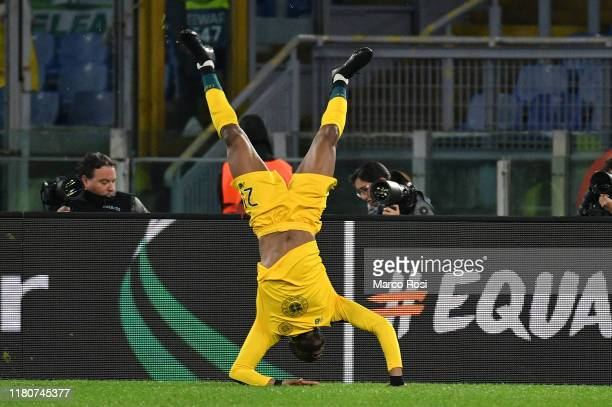 Oliver Ntcham of Celtic FC celebrates a second goal during the UEFA Europa League group E match between Lazio Roma and Celtic FC at Stadio Olimpico...