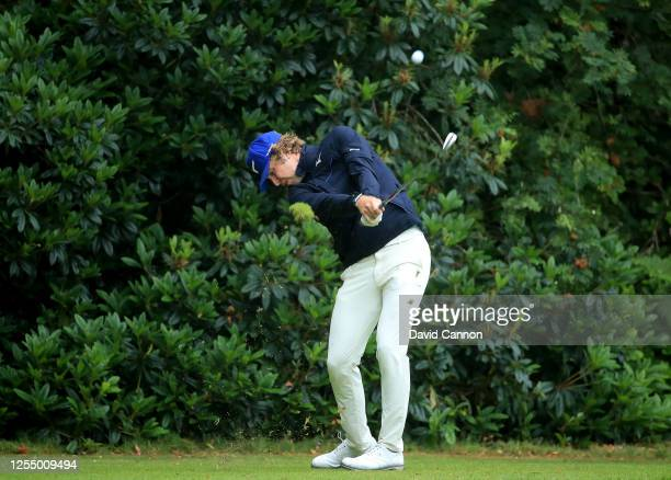 Oliver 'OJ' Farrell of England plays his tee shot on the third hole during the Open Access Masters Clutch Pro Tour Event at Sunningdale Heath Golf...