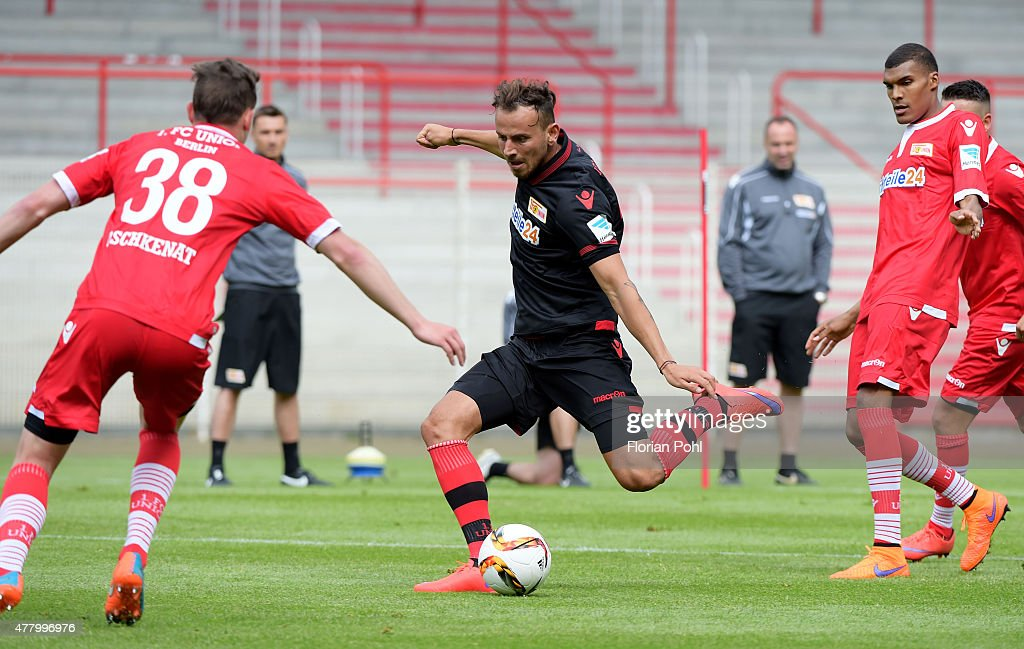 Oliver Oschkenat and Bajram Nebihi of 1 FC. Union Berlin during the training of Union Berlin on June 21, 2015 in Berlin, Germany.