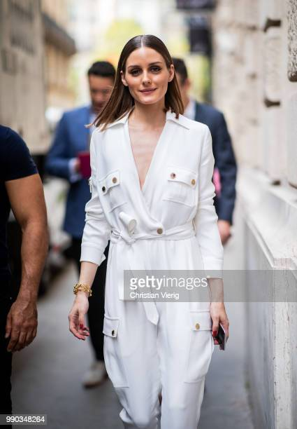 Oliver Palmero wearing white overall is seen outside Ralph Russo on day two during Paris Fashion Week Haute Couture FW18 on July 2 2018 in Paris...