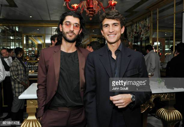 Oliver Peoples Creative Director Giampiero Tagliaferri and Oliver Peoples CEO Rocco Basilico attend GQ and Oliver Peoples Celebrate Timothee Chalamet...