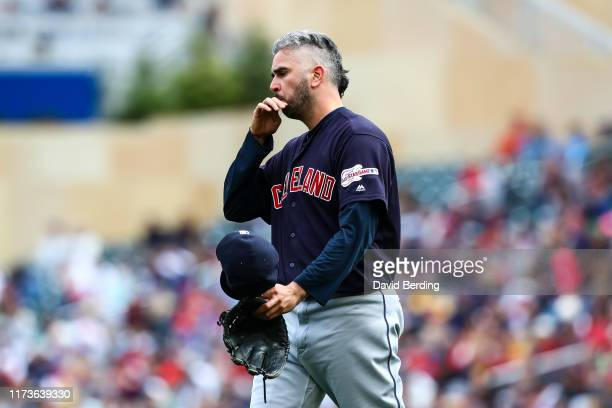 Oliver Perez of the Cleveland Indians looks on prior to the start of the eighth inning against the Minnesota Twins during the game at Target Field on...