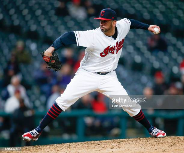 Oliver Perez of the Cleveland Indians pitches against the Atlanta Braves during the eighth inning of Game 2 of a doubleheader at Progressive Field on...