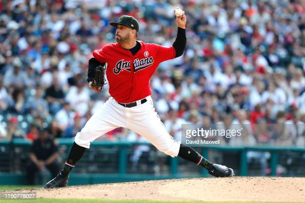 Oliver Perez of the Cleveland Indians pitches against the Baltimore Orioles in the seventh inning at Progressive Field on May 18 2019 in Cleveland...