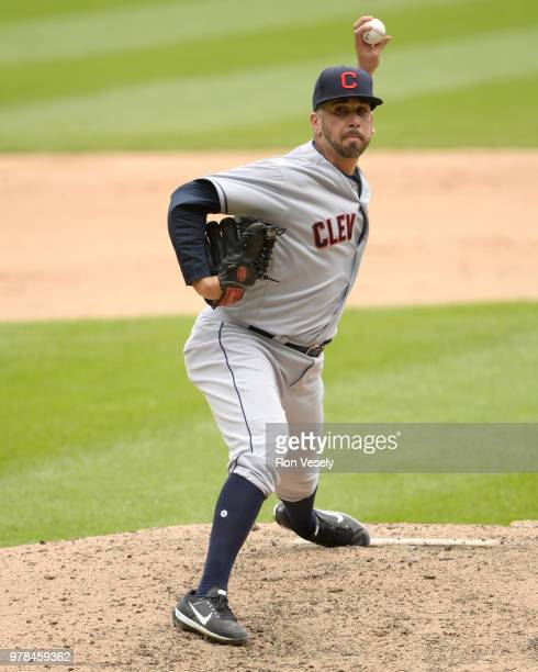 Oliver Perez of the Cleveland Indians pitches against the Chicago White Sox on June 14 2018 at Guaranteed Rate Field in Chicago Illinois