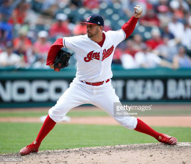 Oliver Perez of the Cleveland Indians pitches against the Kansas City Royals during the seventh inning at Progressive Field on September 5 2018 in...