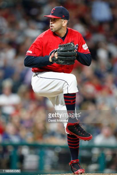 Oliver Perez of the Cleveland Indians pitches against the Los Angeles Angels of Anaheim in the eighth inning at Progressive Field on August 2 2019 in...