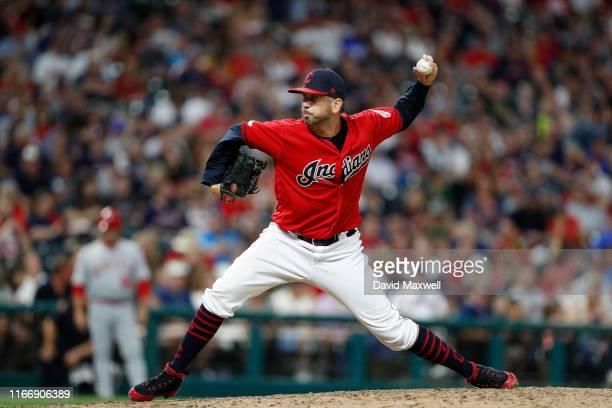 Oliver Perez of the Cleveland Indians pitches against the Los Angeles Angels of Anaheim in the eighth inning at Progressive Field on August 3 2019 in...