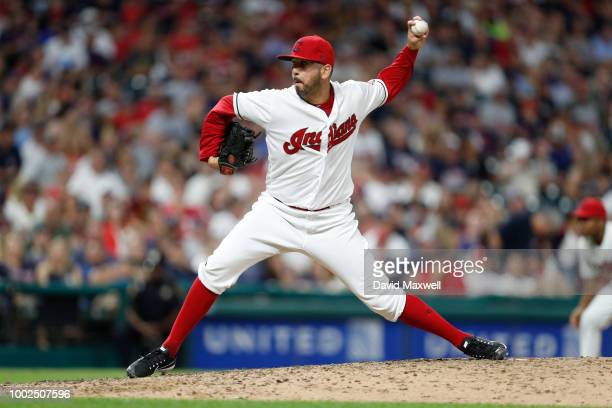Oliver Perez of the Cleveland Indians pitches against the New York Yankees during the eighth inning at Progressive Field on July 13 2018 in Cleveland...