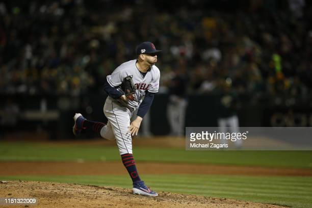 Oliver Perez of the Cleveland Indians pitches during the game against the Oakland Athletics at the OaklandAlameda County Coliseum on May 10 2019 in...