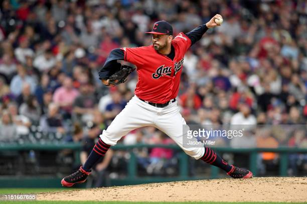 Oliver Perez of the Cleveland Indians pitches during the sixth inning against the Tampa Bay Rays at Progressive Field on May 24 2019 in Cleveland Ohio