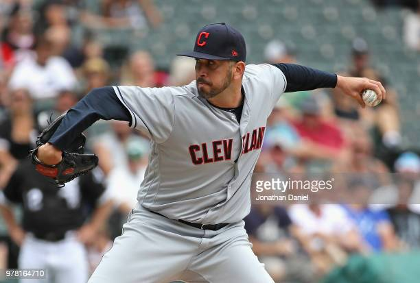 Oliver Perez of the Cleveland Indians pitches in the 8th inning against the Chicago White Sox at Guaranteed Rate Field on June 14 2018 in Chicago...