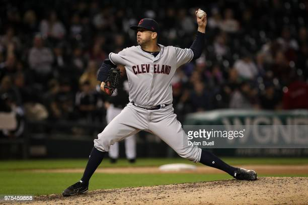 Oliver Perez of the Cleveland Indians pitches in the eighth inning against the Chicago White Sox at Guaranteed Rate Field on June 11 2018 in Chicago...