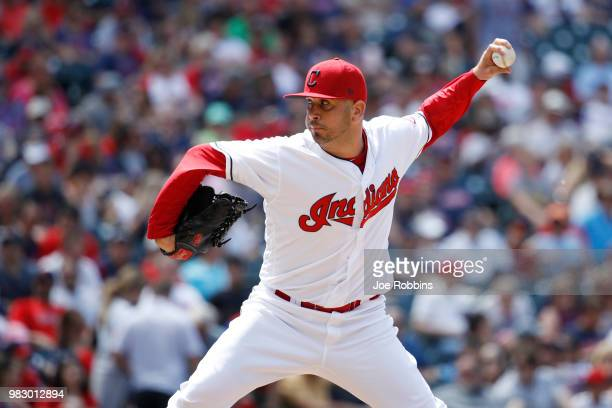 Oliver Perez of the Cleveland Indians pitches in the eighth inning against the Detroit Tigers at Progressive Field on June 24 2018 in Cleveland Ohio...