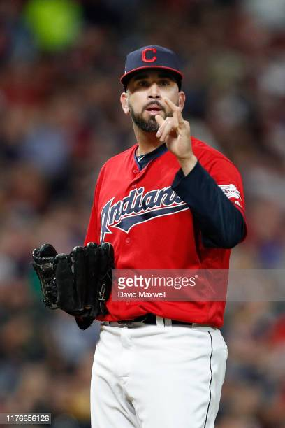Oliver Perez of the Cleveland Indians takes the mound against the Philadelphia Phillies during the fifth inning at Progressive Field on September 21...