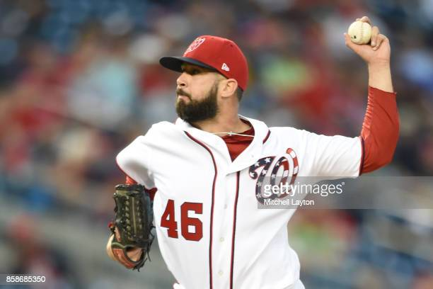 Oliver Perez of the Washington Nationals pitches during a baseball game against the Pittsburgh Pirates at Nationals Park on October 1 2017 in...