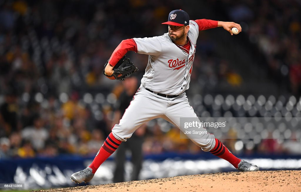 Oliver Perez #46 of the Washington Nationals pitches during the seventh inning against the Pittsburgh Pirates at PNC Park on May 17, 2017 in Pittsburgh, Pennsylvania.