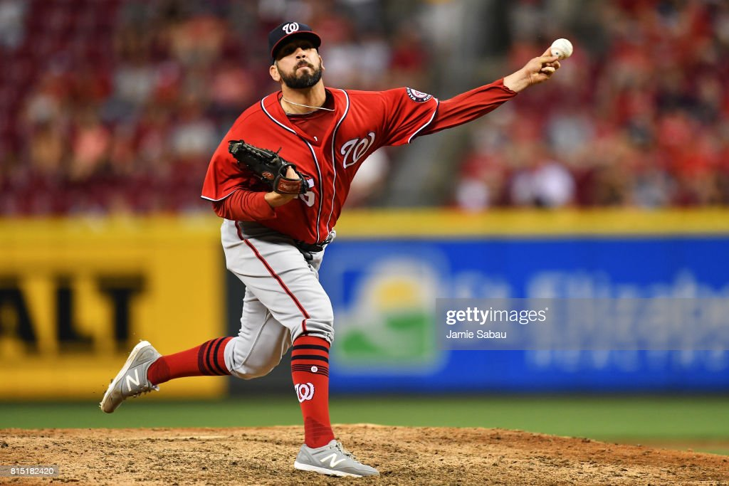 Oliver Perez #46 of the Washington Nationals pitches in the eighth inning against the Cincinnati Reds at Great American Ball Park on July 15, 2017 in Cincinnati, Ohio. Washington defeated Cincinnati 10-7.