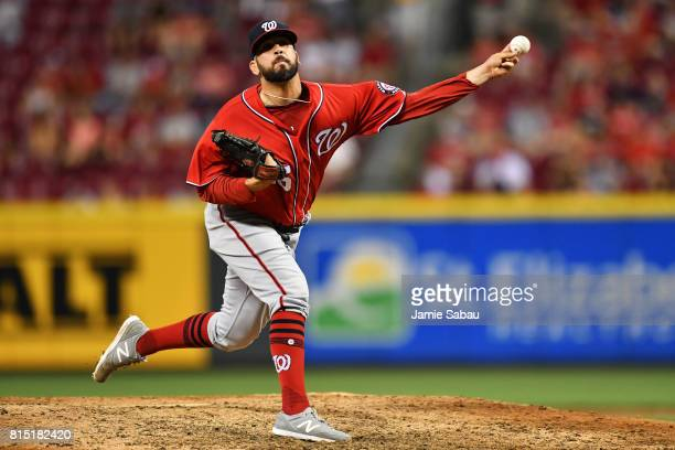 Oliver Perez of the Washington Nationals pitches in the eighth inning against the Cincinnati Reds at Great American Ball Park on July 15 2017 in...