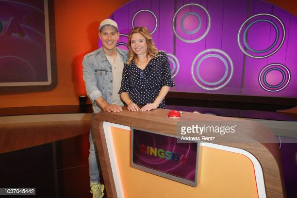 Oliver Petszokat aka OliP and Caroline Frier pose during the 'DINGSDA' photo call at MMC Studios on June 26 2018 in Cologne Germany